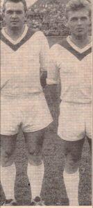 Ernst Happel (links) und Gerhard Hanappi am 30. November 1958 im Linzer Stadion. RAPID schlug den Staatsliga A-Aufsteiger LASK vor 15.000 Zuschauern mit 4 : 1. Foto: Erwin H. Aglas / oepb
